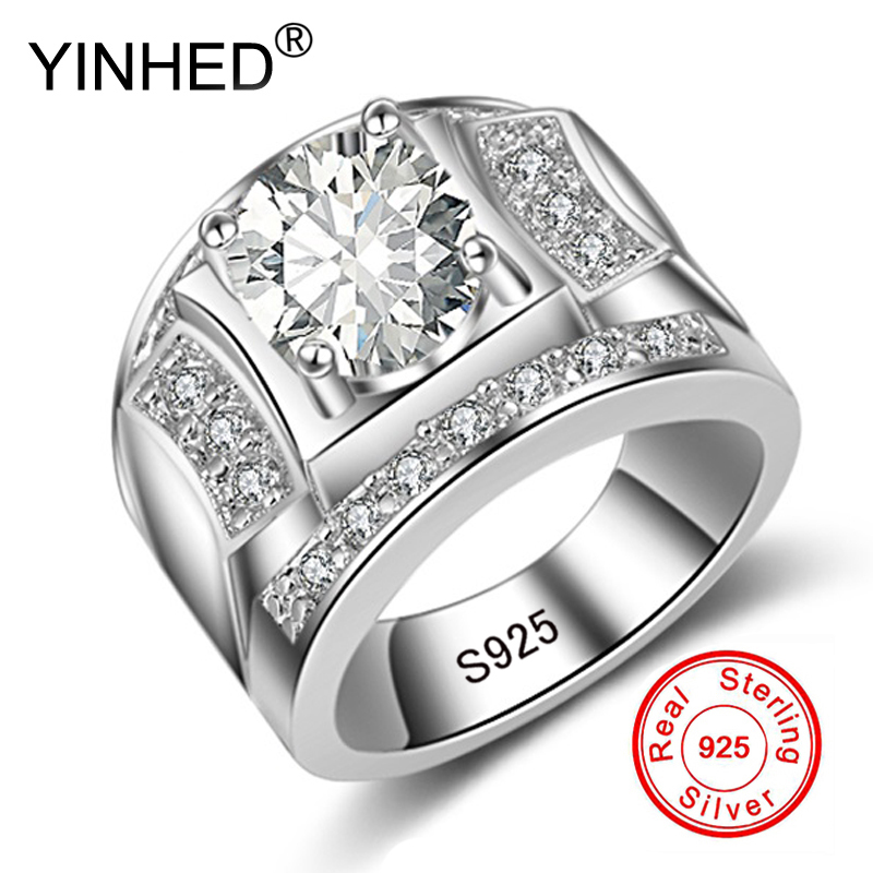 YINHED Fashion Original 925 Silver Promise Engagement Rings For Couples Men Women Wedding Ring Set 1ct CZ Zircon Jewelry ZKR264