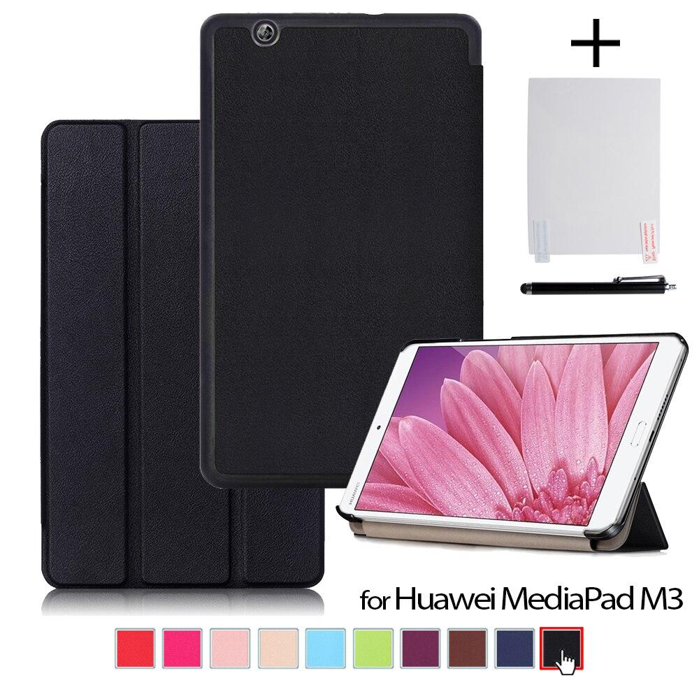 Cas de couverture pour Huawei MediaPad M3 BTV-W09 BTV-DL09 8.4 pouce tablet 2016 Ultra-mince PU étui en cuir + protecteur film + stylet