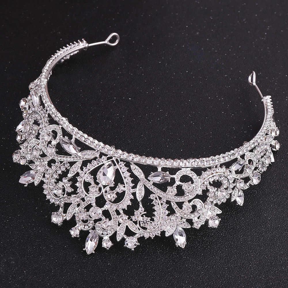 Barokke Vintage Rose Goud Roze Hart Crystal Bridal Tiara Kronen Pageant Strass Diadeem Veil Tiara Bruiloft Haar Accessoires