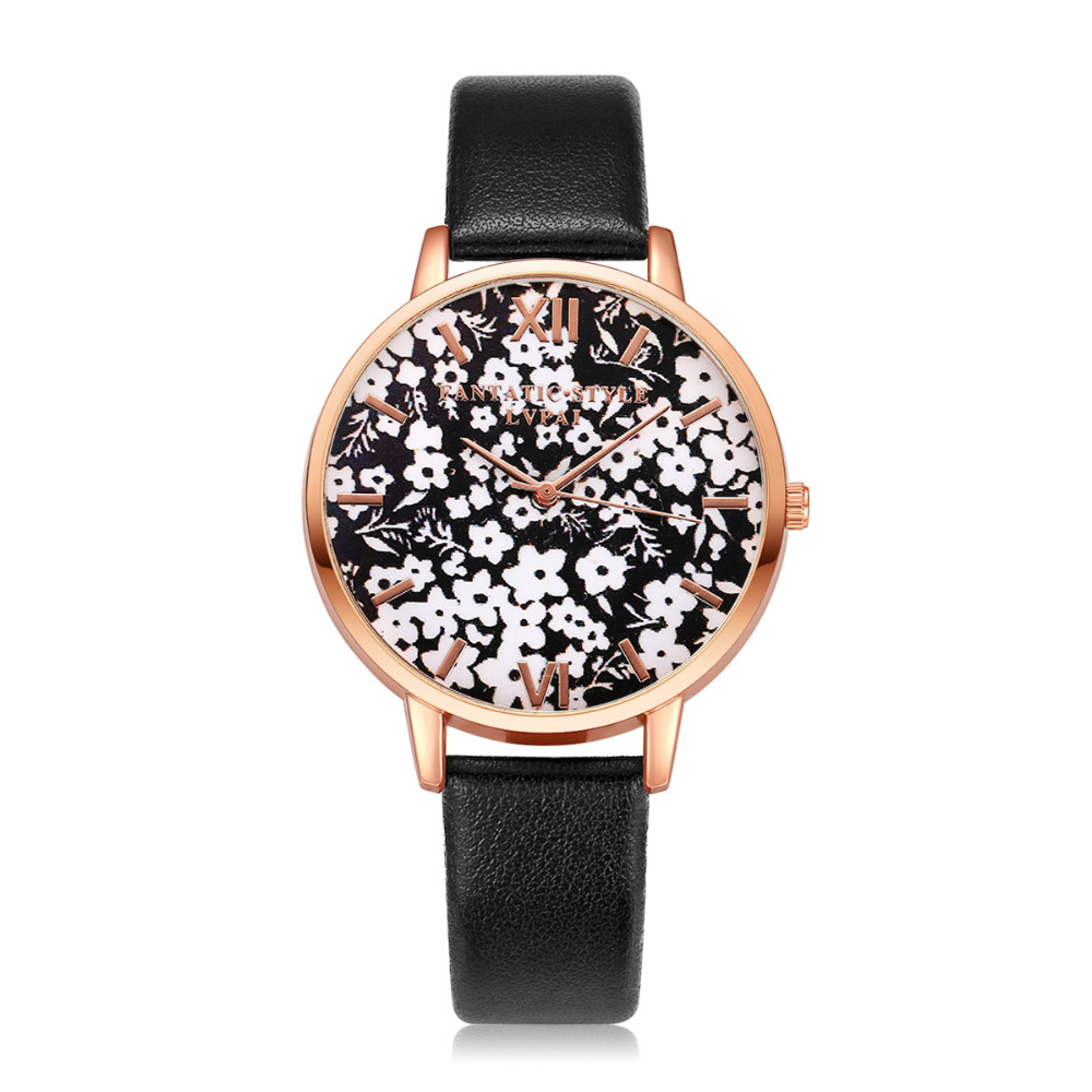 Lvpai Brand Ladies Wrist Watch 2018 New Leather Strap Business Flowers Black Watch Gift Luxury Rose Gold Business Women Watches
