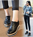 2017 Spring Women Fashion Soft Leather Wedge Casual Shoes Round Toe Lace Up Vulcanized Shoes For Ladies SMYPDF-B0018