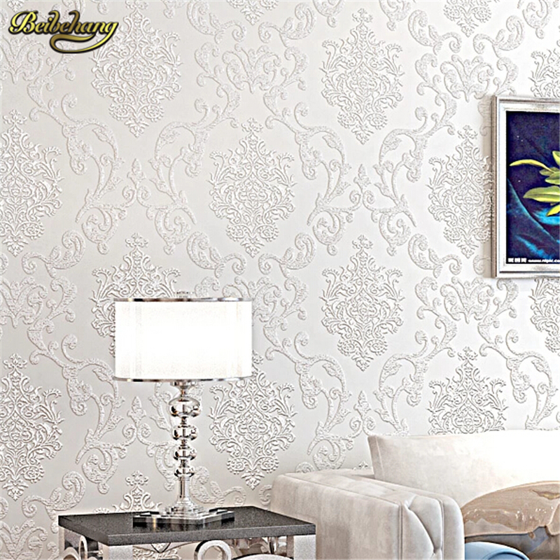 beibehang Europe Damascus 3d wallpaper Damask wall coverings Embossed textured wall paper  bedroom sitting room papel de parede beibehang wall coverings mural wall paper roll bedroom sofa off white textured feature europe vintage glitter damask wallpaper