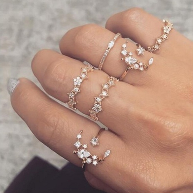 5 Pcs/set Bohemia Retro Crystal Moon Star Simple Hollow Punk Personality Silver Open Ring Women Wedding Anniversary Gift
