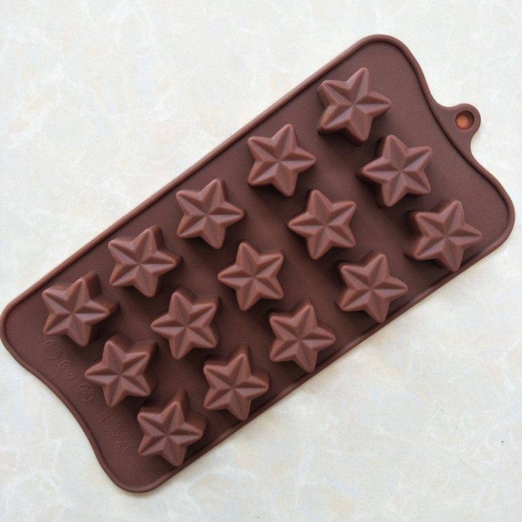 Silicone Molds New 15 Lattices Star Shape DIY Chocolate Mold Ice Cube Silicone Jelly Mold D552