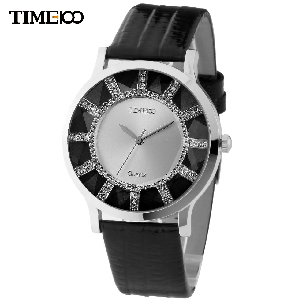 TIME100 Brand Retro Women Watches Black Leather Strap Analog Crystal Ladies Casual Wrist Watches Gift Relogio Feminino feminino feminino casual feminino relogio - title=