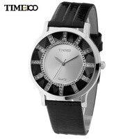 TIME100 Brand Retro Women Watches Black Leather Strap Analog Crystal Ladies Casual Wrist Watches Gift Relogio Feminino