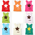 90 Delivery Days Candy Colors Summer Stars Boys Girls T Shirts Sleeveless Kids Tops Tees Baby Children Clothes 2016 T1/0345DBO