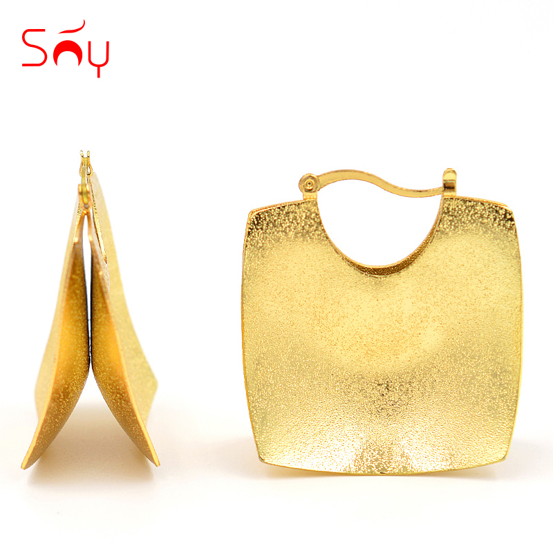 Sunny Jewelry Maxi Statement Cross Jewelry Earrings 2018 Big Square Hoop Earrings For Women Girls For Birthday Party Daily Wear