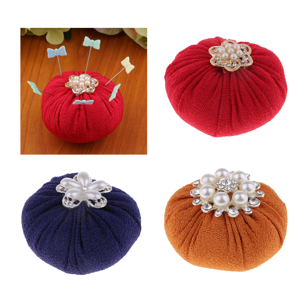 Round Shape Pin Cushion Needle Pincushions with Rhinestones for DIY Needlework Craft(China)