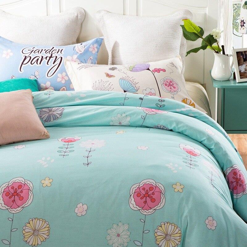TUTUBIRD girls blue boho linens 100% cotton oriental style floral duvet bedspread queen pillow cover for girl children adult