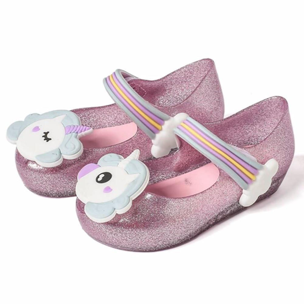 Mini Melissa Unicorn Girls Sandals Jelly Shoes Baby Boys Girls Sandals Anti-Skid Melissa Beach Sandals Shoes Kids Sandal Toddler girl