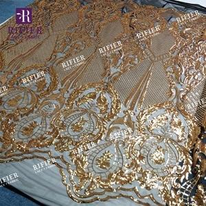 Image 2 - Glänzende Gold Pailletten Stil Afrikanischen Hochwertigen Mesh Spitze Stoff Pailletten Gestickte Guipure Netto Schnürsenkel Für Hochzeit Und Partei