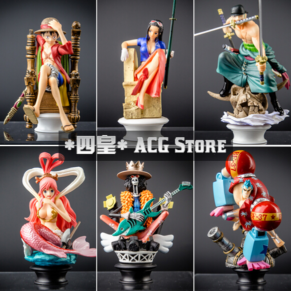 New japanese anime one piece brook shirahosh Luffy Franky Robin Zoro pvc action figure 6pcs/set for christmas gifts free shiping one piece figure japanese one piece nico robin pvc 17cm action figures kids toys japanese anime figurine doll free shipping
