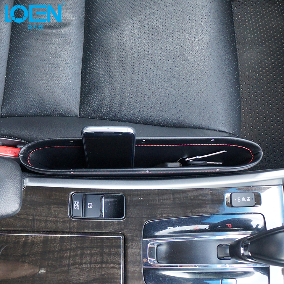 1pc Berkualiti tinggi Kulit Kereta Seat Gap beg kunci telefon ringan - Aksesori dalaman kereta - Foto 1
