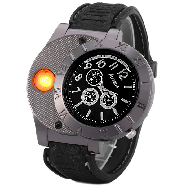Fashion 2 In 1 Huayue Rechargeable USB Watch Lighter Windproof font b Electronic b font font