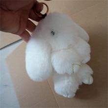 Фотография Fluffy Faux Rex Rabbit Fur Keychain Pompom Bunny Keyring Women Trinket Hare Car Key Ring Holder Dolls Bag Charms Jewelry Gift