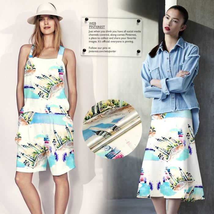 c6836fdc8311 Heavy digital printing cloth silk fabric silk stretch satin skirt trousers  clothing good morning, Toronto