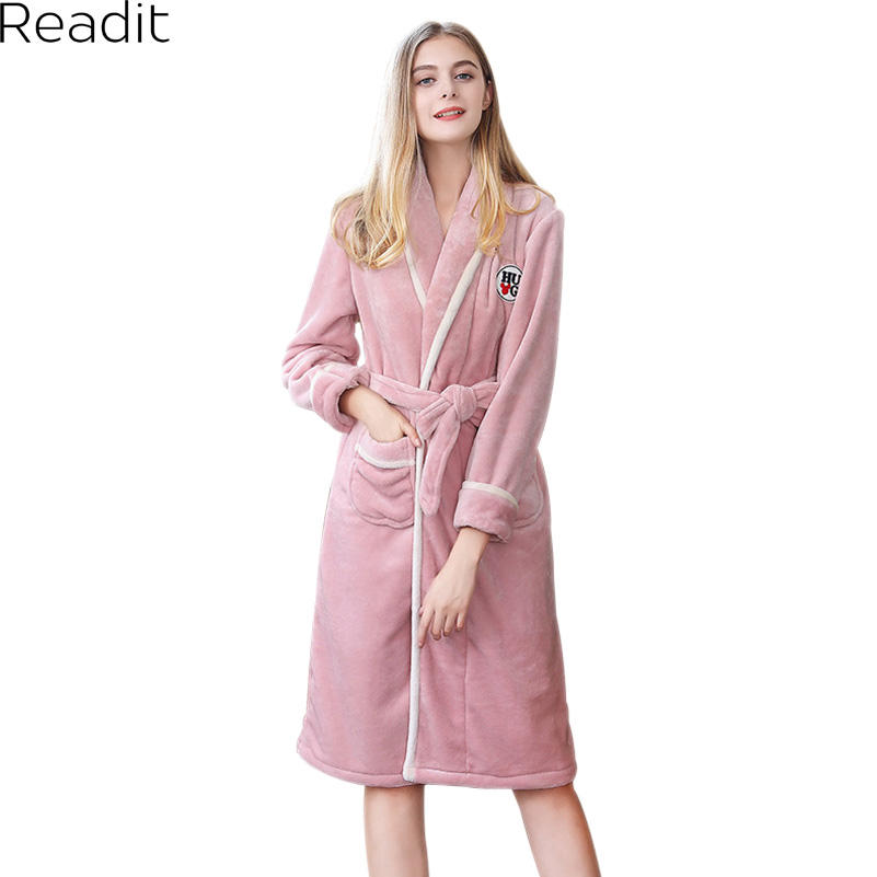 Readit Flannel Couples Robes 2017 Women Warm Robe Home Gowns Peignoir Femme Polaire Female Male Robes Home Clothing Bathing Robe