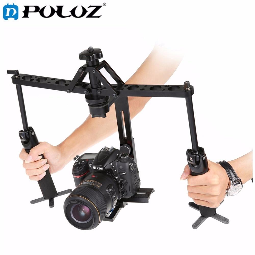 цена на PULUZ Dual Gimbal Handgrips Handheld Mechanical Stabilizer for Canon / Nikon / GoPro / AEE DSLR Video Camera