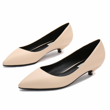 Pointed Toe Low Heel Shoes Thin Concise Shallow Fashion Pumps Women Plus Size Office E0024