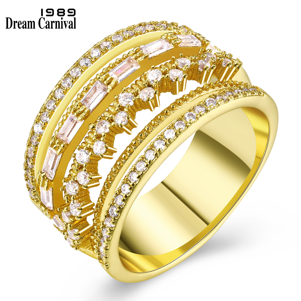 DreamCarnival 1989 Hollow Crown Ring for Women Marriage Parties Rhodium Gold Color 4 Roll CZ Alyans anillos mujer Eternal Lover punk style pure color hollow out ring for women
