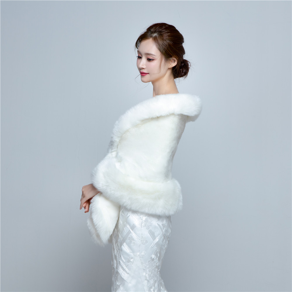 2016 Wedding Bolero Jacket Womens Faux Fur Coat Ivory Winter Jackets ...