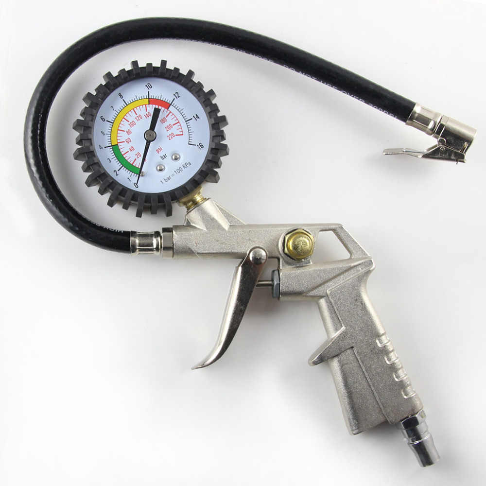 New Aluminum alloy+PVC pipe New Air Tire Inflator With Dial Gauge Auto Truck Bike Compressor Pistol Type