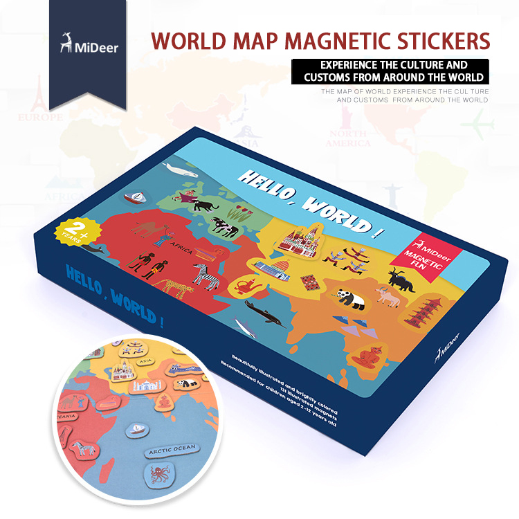 все цены на Mideer 131pcs Baby Toys 3D Magnetic Puzzles World map Puzzles Fridge magnet Tangram Child Educational Gift онлайн
