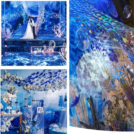 Wedding Marine decoration laser fish fillet sequins bead curtain door curtain net on the ocean theme wedding area window props