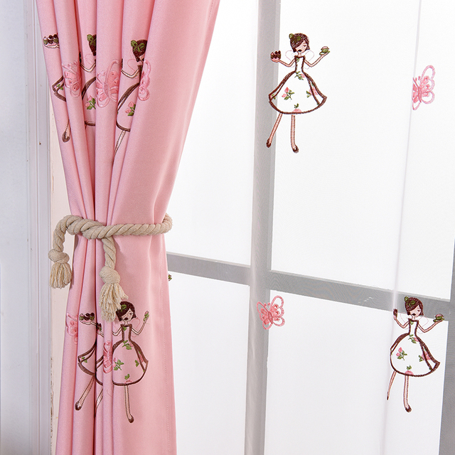 Pink Princess Cartoon Curtains For Living Room Children Embroidery ...