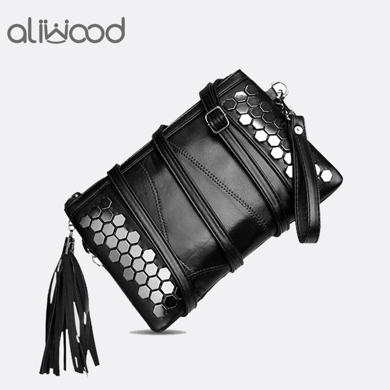 Aliwood Women's Bags Clutch Rivet Crossbody-Bags Fringed Tassel Sequined Females Genuine-Leather