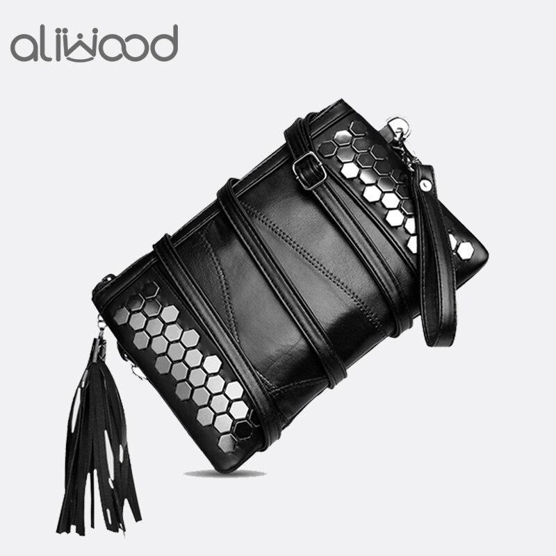 Aliwood Genuine Leather Tassel Women's Bags Clutch Sequined Rivet Females Crossbody Bags For Women Shoulder Bag Fringed Handbags