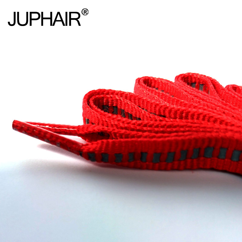 JUP1-12Pair Red New Arrival Sporty Flat Reflective Shoelaces Bootlaces Unisex For Sneakers Basketballs Canvas Shoes Sports Safty