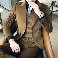 Brown Green Corduroy Suit Slim Fit Vestito Uomo Smoking British Terno Masculino Trajes Hombres Formal Latest Coat Pant Design