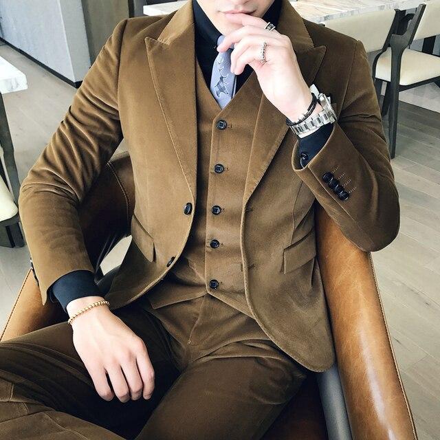 cd6a4b63d9 Marrón traje de pana verde slim fit vestido Uomo fumar británico terno  masculino trajes hombres formales
