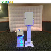 8*7ft Nice White Oxford Inflatable Wall Party Backdrop Color Changing LED Inflatable Wall Portable inflatable foto For Hot Sales