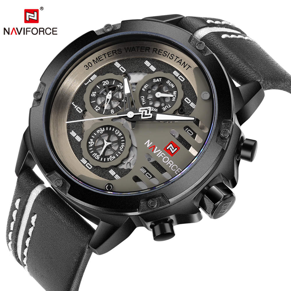 NAVIFORCE Leather Watch Men Quartz Watches Sport 24 Hour Display Saat Fashion Casual Man Wristwatch Male Clock Relogio Masculino burei fashion men casual watches sport genuine leather quartz watch dress clock hours male business wristwatch relogio masculino