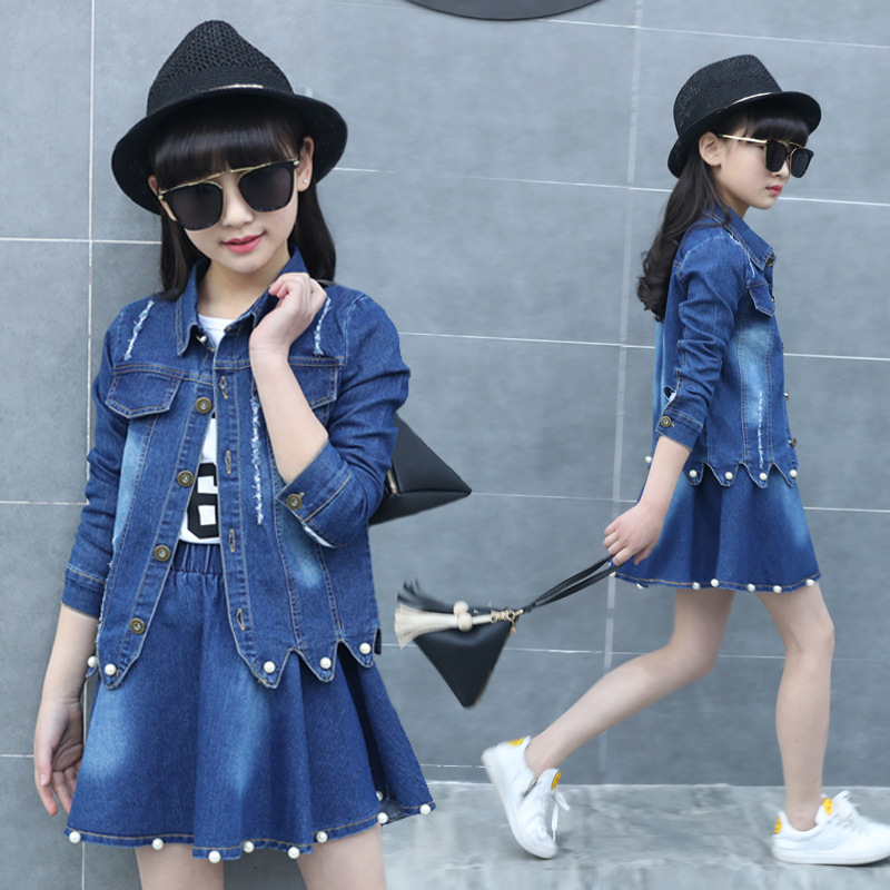 Spring Fall Girls Dress Set Denim Jackets Teenage Kids Jacket Two Piece Girls Children Skirt Suit Long Sleeve Set 4-12 Years X4