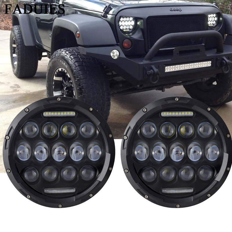 FADUIES 7 Inch Round Black Led Headlights With DRL Hi/lo Beam For Jeep Wrangler Jk Tj  MACK R Peterbilt Kenworth Freightliner 7 inch 60w led headlight drl white turn singal hi lo beam headlamp bulb fit jeep wrangler jk tj sahara unlimited hummer h1 h2