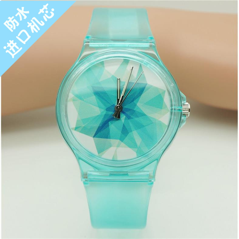 Fashion uni silicone green ice ore dial waterproof wristwatches casual women man red snowflake face couple gift quartz watch