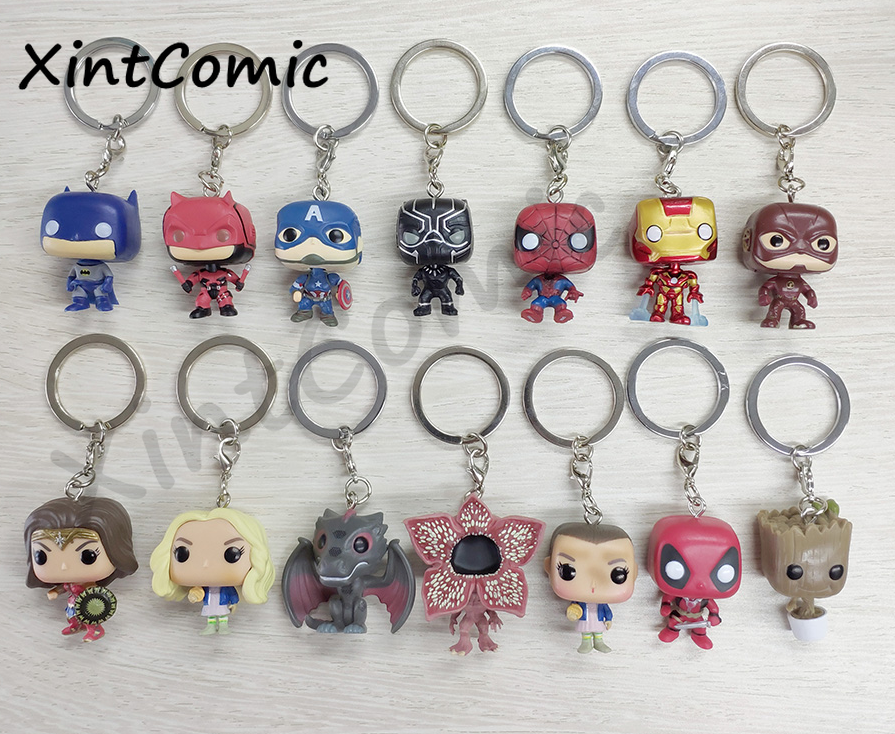 Pop Toys Keychain Iron Man Groot Marvel Captain America Key Ring Kids Wonder Women Key Chain Bag Pendant Jewelry Key buckle