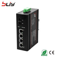5 ports industrial switch dual fiber SC fiber connector BIDI unmanageable industrial Ethernet switch for fiber optical equipment