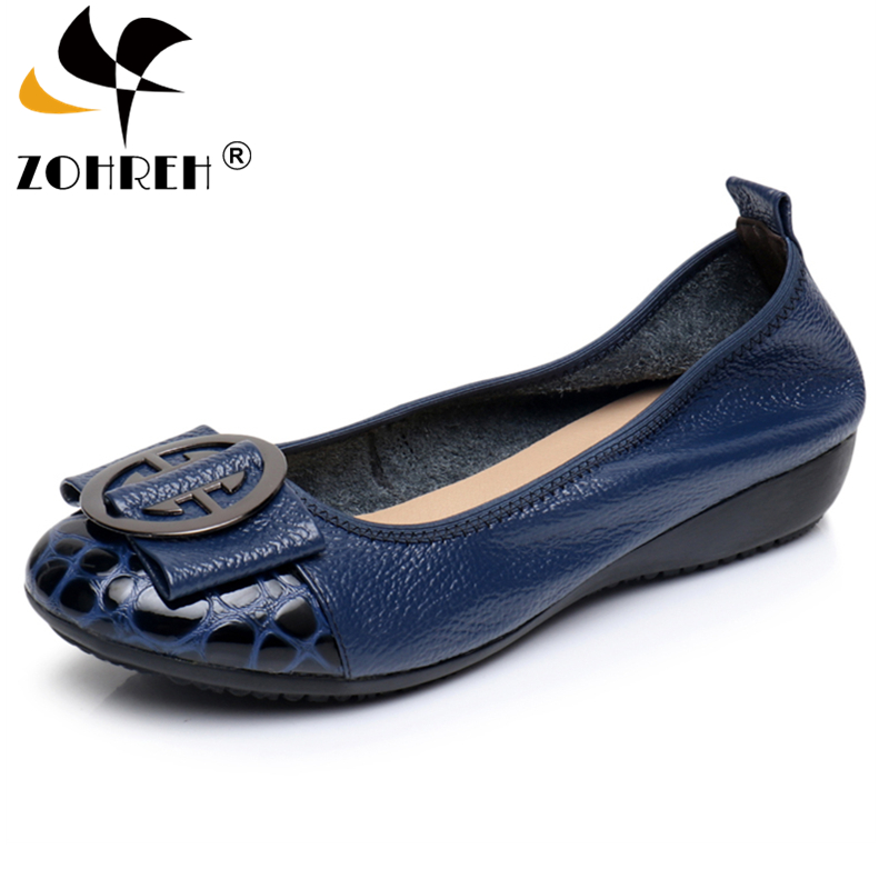 Genuine Leather Loafers 2018 Black Blue Ballet Flats Shoes Woman Slip On Comfortable Casual Women Ballerina Shoes Big Size 34-42