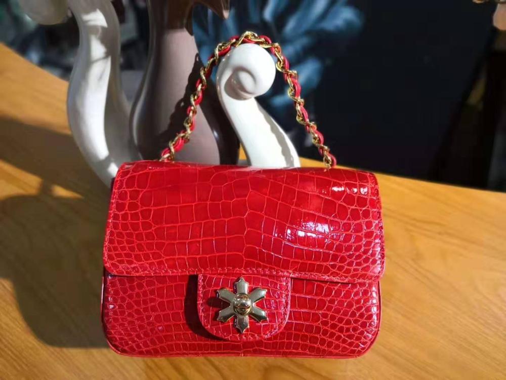 Mini Bag Cross-Body Luxury-Quality Shouder-Bag Crocodile-Skin Shinny Women Genuine 17cm-Length
