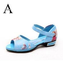 Aercourm Un D'été Filles Sandales Enfants Chaussures Enfants Sandales Snow Queen Anna Elsa Chaussures Bleu Haute-Talon Enfants Roman sandales 26-36
