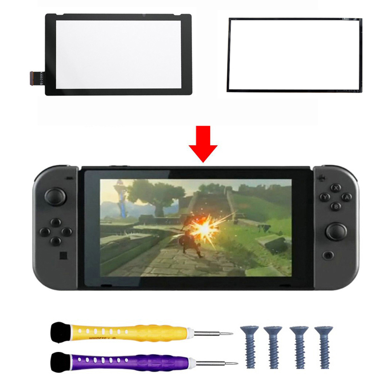 For Nintend Switch NS NX Nintendos Console Replacement Repair LCD Display Touch Screen + Dustproof Adhesive Pad + Screw Driver