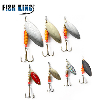 FISH KING Mepps Willow Spinner Bait Copper Size 1#-5# With Mustad 35647-BR Treble Hook 1/0#-8#  Fishing Lure