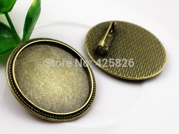5pcs 30mm Inner Size Antique Bronze Brooch Pin Classic Style Cabochon Base Setting (B6-03) 2pcs 20mm inner size antique silver and antique bronze colors plated brooch pin fish style cabochon base setting