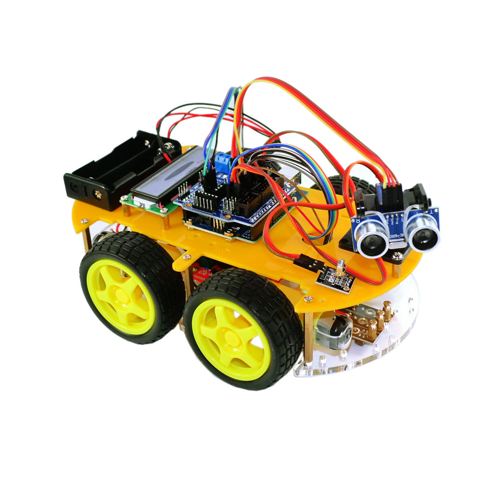 цена на Bluetooth Ultrasonic Smart Car Robot Starter Kit for Arduino