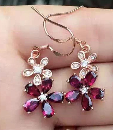 цены natural garnet stone drop earrings 925 silver Natural gemstone drop earring women Classic elegant fashion fine drop Earrings